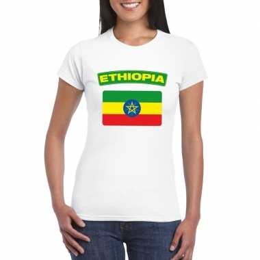 T-shirt met ethiopische vlag wit dames