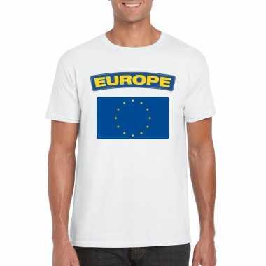 T-shirt met europese vlag wit heren