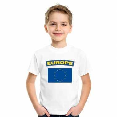 T-shirt met europese vlag wit kinderen