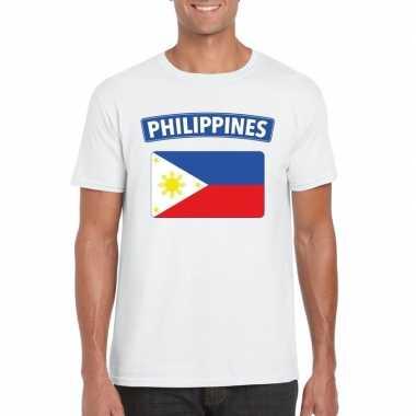 T-shirt met filipijnse vlag wit heren