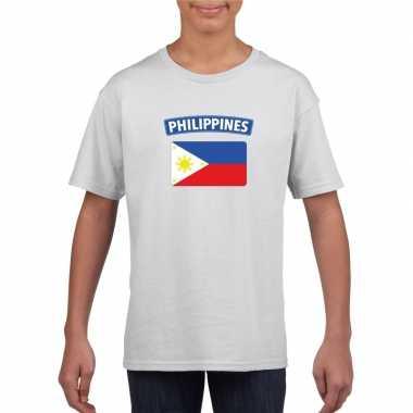 T-shirt met filipijnse vlag wit kinderen