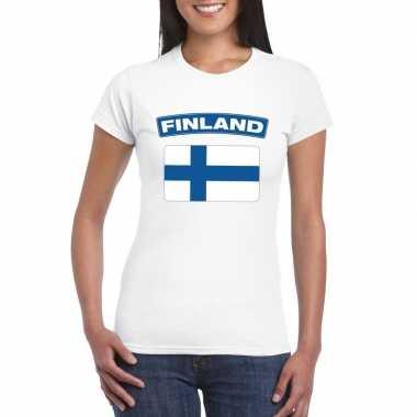 T-shirt met finse vlag wit dames