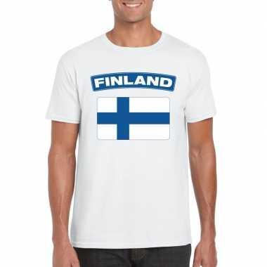 T-shirt met finse vlag wit heren