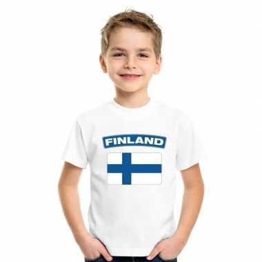 T-shirt met finse vlag wit kinderen