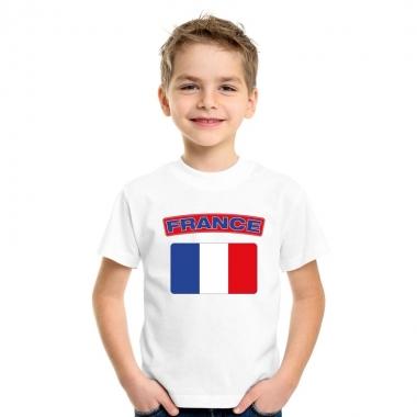 T-shirt met franse vlag wit kinderen