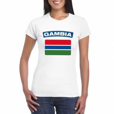 T-shirt met gambiaanse vlag wit dames