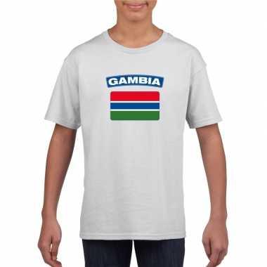 T-shirt met gambiaanse vlag wit kinderen