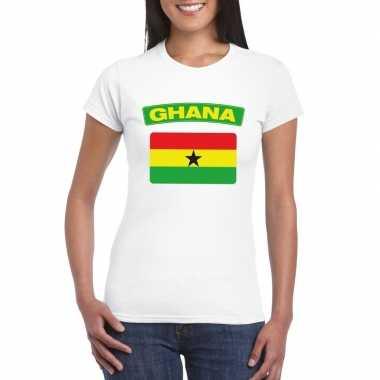 T-shirt met ghanese vlag wit dames