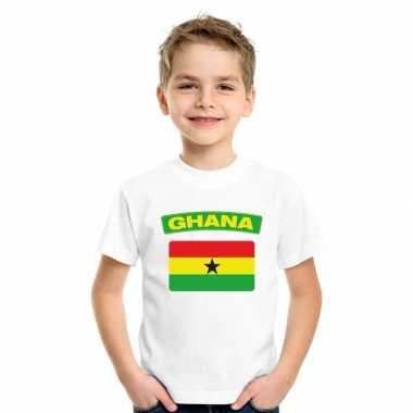 T-shirt met ghanese vlag wit kinderen