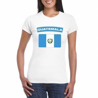 T-shirt met guatemalaanse vlag wit dames