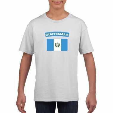 T-shirt met guatemalaanse vlag wit kinderen