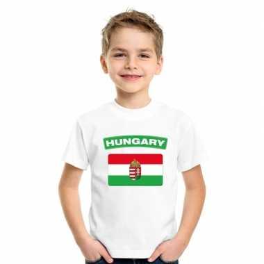 T-shirt met hongaarse vlag wit kinderen
