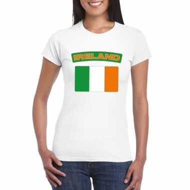 T-shirt met ierse vlag wit dames