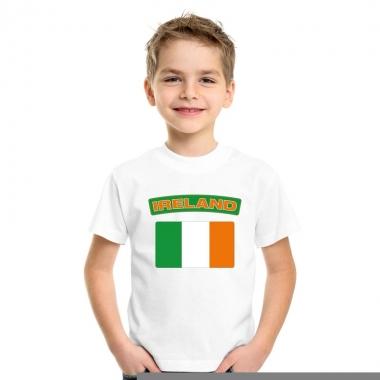 T-shirt met ierse vlag wit kinderen