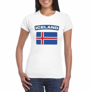 T-shirt met ijslandse vlag wit dames