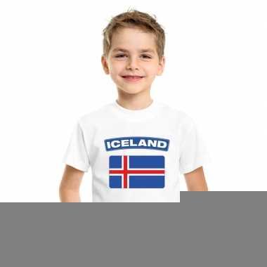 T-shirt met ijslandse vlag wit kinderen