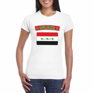 T-shirt met irakese vlag wit dames