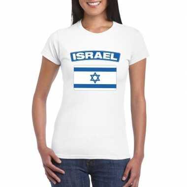 T-shirt met israelische vlag wit dames