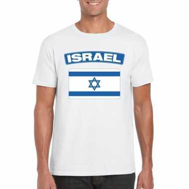 T-shirt met israelische vlag wit heren