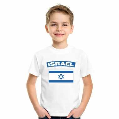T-shirt met israelische vlag wit kinderen