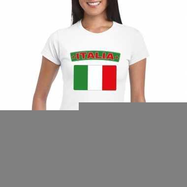 T-shirt met italiaanse vlag wit dames
