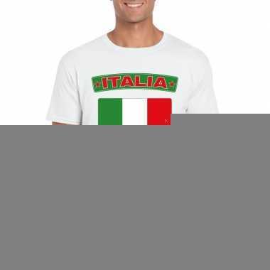 T-shirt met italiaanse vlag wit heren