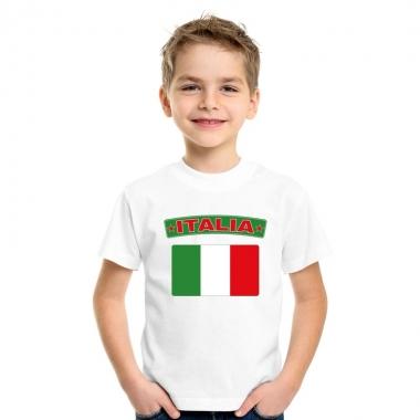 T-shirt met italiaanse vlag wit kinderen