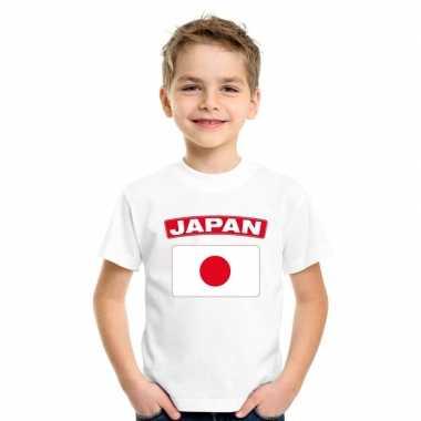 T-shirt met japanse vlag wit kinderen