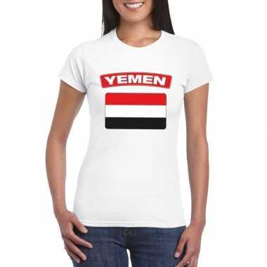 T-shirt met jemenitische vlag wit dames