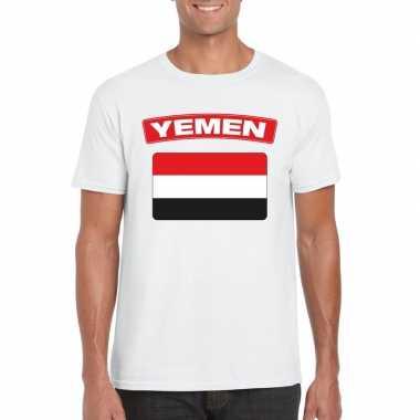 T-shirt met jemenitische vlag wit heren