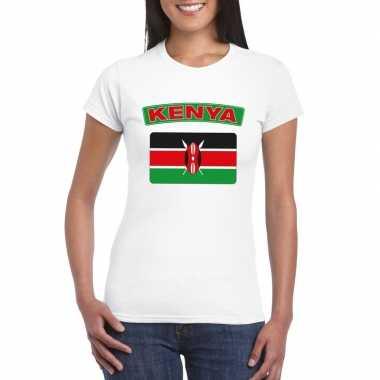 T-shirt met keniaanse vlag wit dames