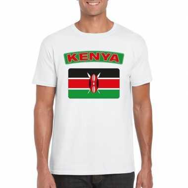 T-shirt met keniaanse vlag wit heren