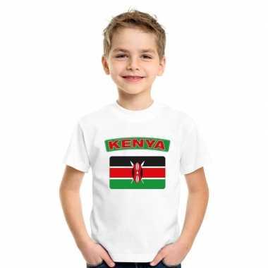 T-shirt met keniaanse vlag wit kinderen
