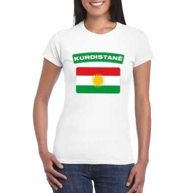 T-shirt met koerdistaanse vlag wit dames
