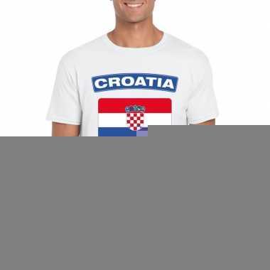 T-shirt met kroatische vlag wit heren