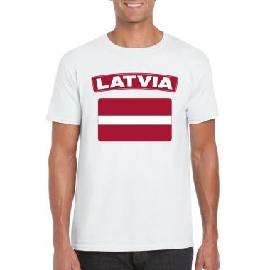 T-shirt met letlandse vlag wit heren