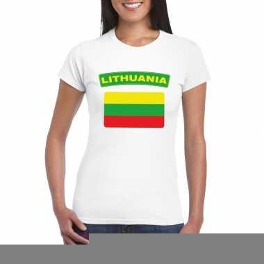 T-shirt met litouwse vlag wit dames