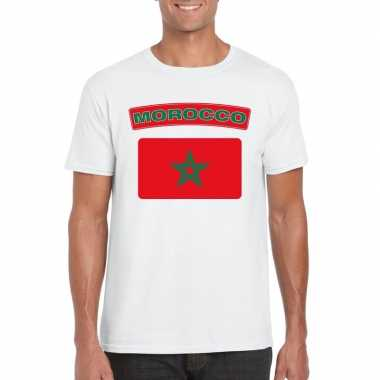 T-shirt met marokkaanse vlag wit heren