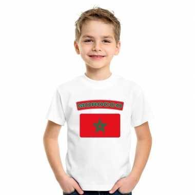 T-shirt met marokkaanse vlag wit kinderen