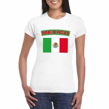T-shirt met mexicaanse vlag wit dames