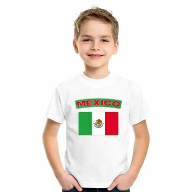 T-shirt met mexicaanse vlag wit kinderen