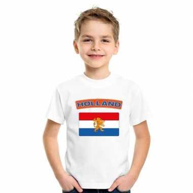 T-shirt met nederlandse vlag wit kinderen