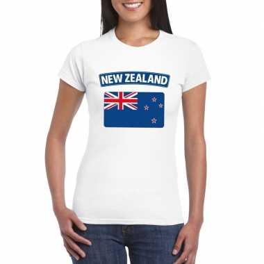 T-shirt met nieuw zeelandse vlag wit dames