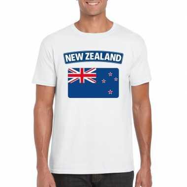 T-shirt met nieuw zeelandse vlag wit heren