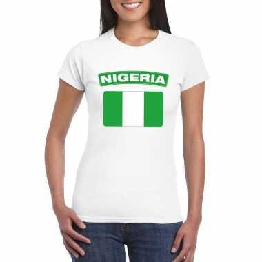 T-shirt met nigeriaanse vlag wit dames