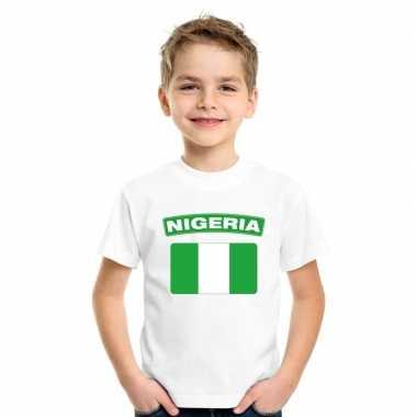 T-shirt met nigeriaanse vlag wit kinderen
