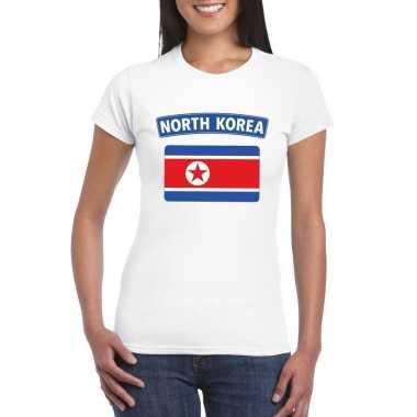T-shirt met noord koreaanse vlag wit dames