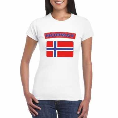 T-shirt met noorse vlag wit dames