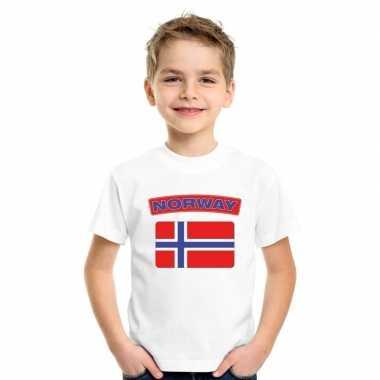 T-shirt met noorse vlag wit kinderen
