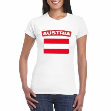 T-shirt met oostenrijkse vlag wit dames
